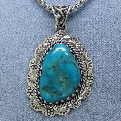 Arizona Turquoise Western Pendant Necklace - Sterling Silver