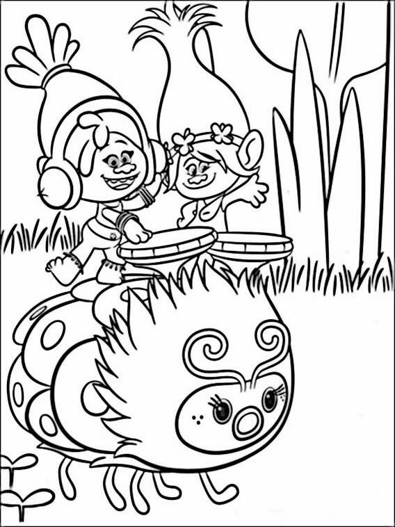 trolls coloring pages 7 | Раскраски, Детские раскраски