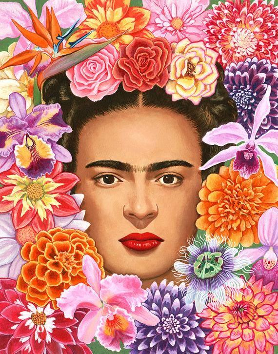 Frida with Flowers- digital print