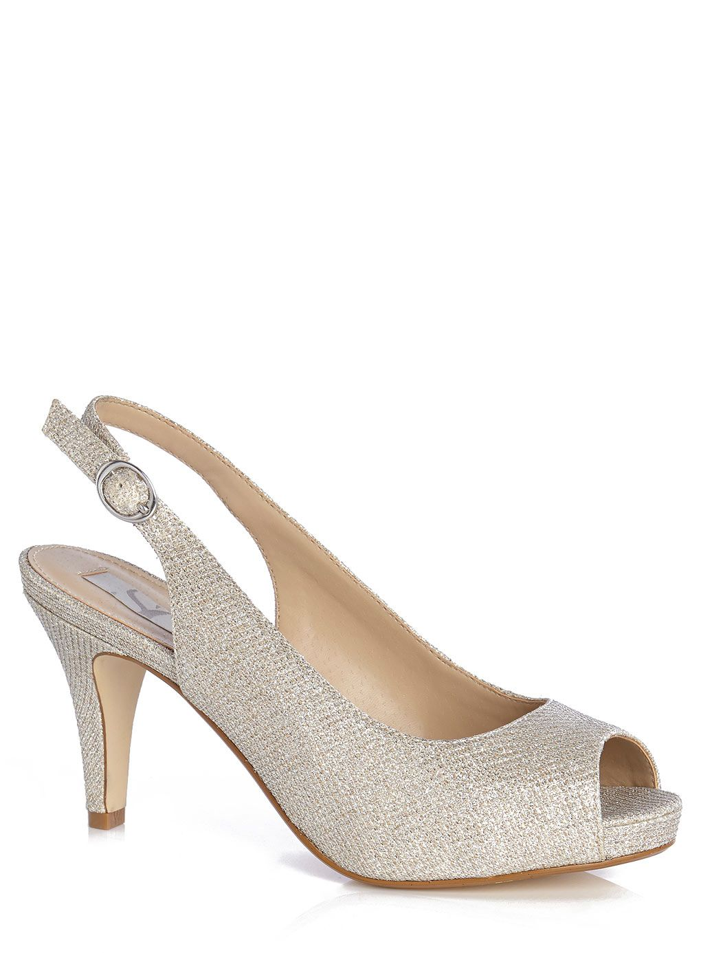 57c6c511935 Pewter Shimmer Mesh Peep Toe Sling Back Shoe - adult bridesmaids - Wedding