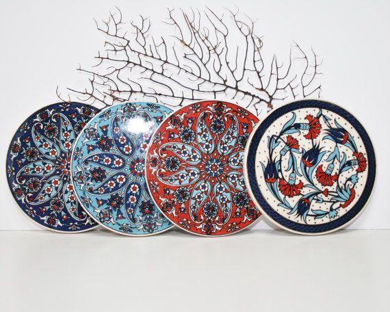 Decorative Coasters Set Of 4 Tile Handmade Coasters Blue Tile Coasters Boho Chic Coasters Floral Art Pattern Coa Handmade Coasters Blue Tiles Tile Coasters