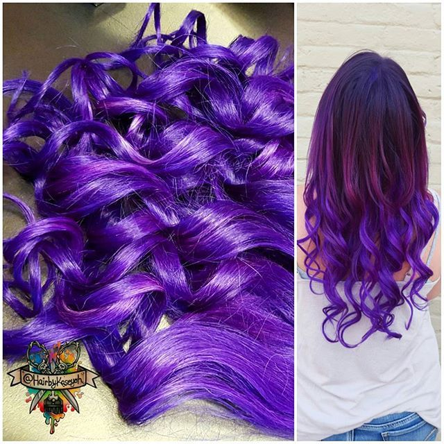 Black To Dark Purple Mermaid Colorful Ombre Indian Remy Clip In Hair