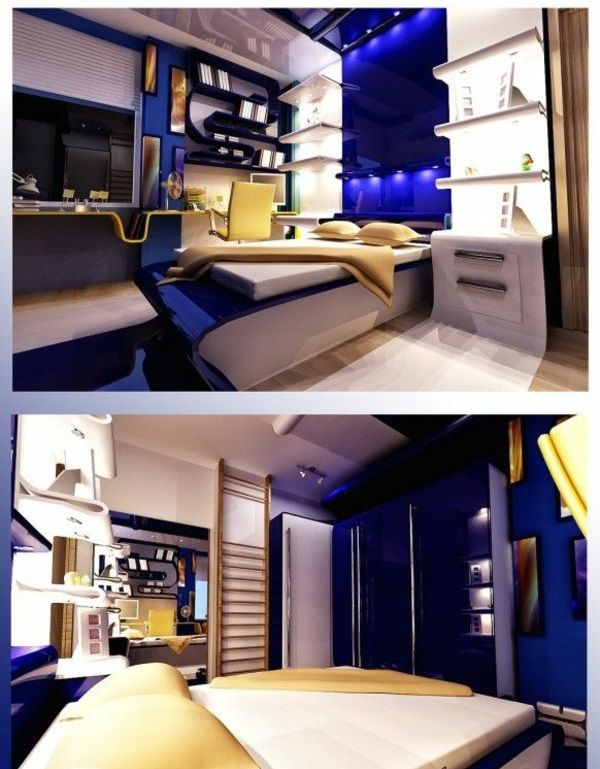 jugendzimmer gestalten 100 faszinierende ideen teenager zimmer gestalten in blau neon. Black Bedroom Furniture Sets. Home Design Ideas