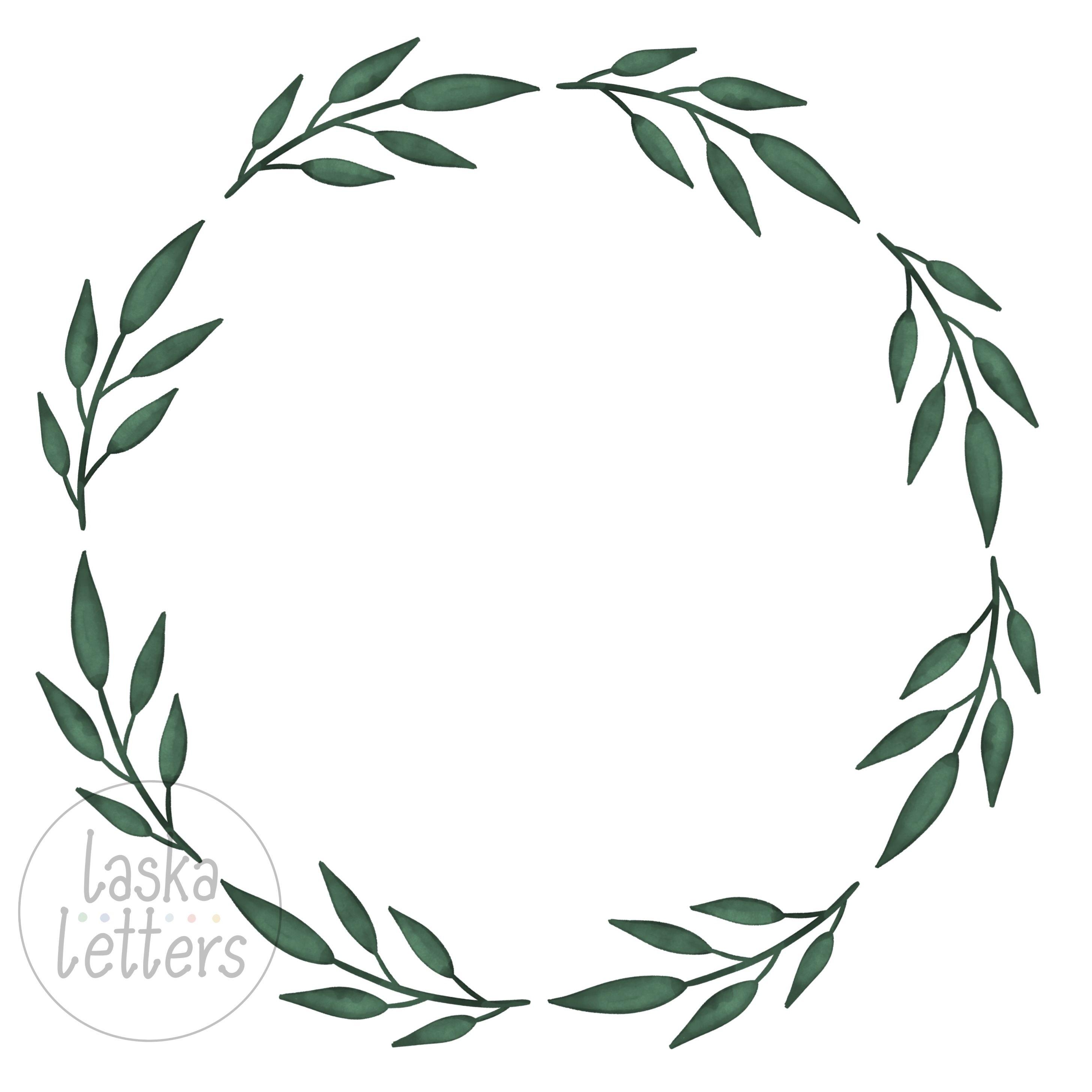 Green Watercolor Wreath Clipart Watercolor Wreath Png Jpeg Etsy Wreath Watercolor Pink Flowers Wallpaper Green Watercolor