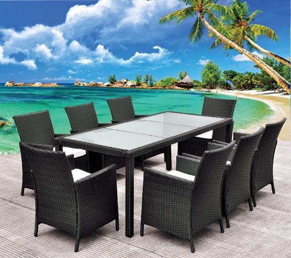 kproline salon de jardin roma table en rsine tresse 8 places noir prix promo salon de - Table Jardin Promo