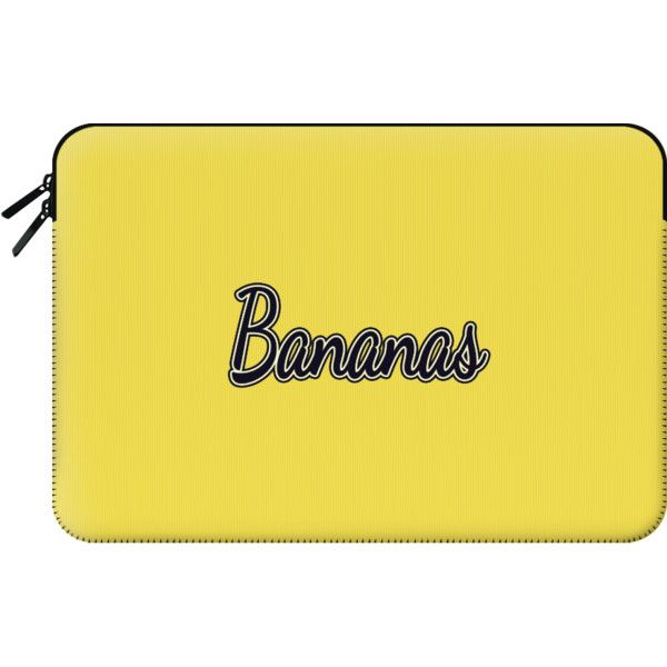 """""""""""Bananas"""""""" Typography on Yellow - Macbook Sleeve (£46) ❤ liked on Polyvore featuring accessories, tech accessories, bags and macbook sleeve"""