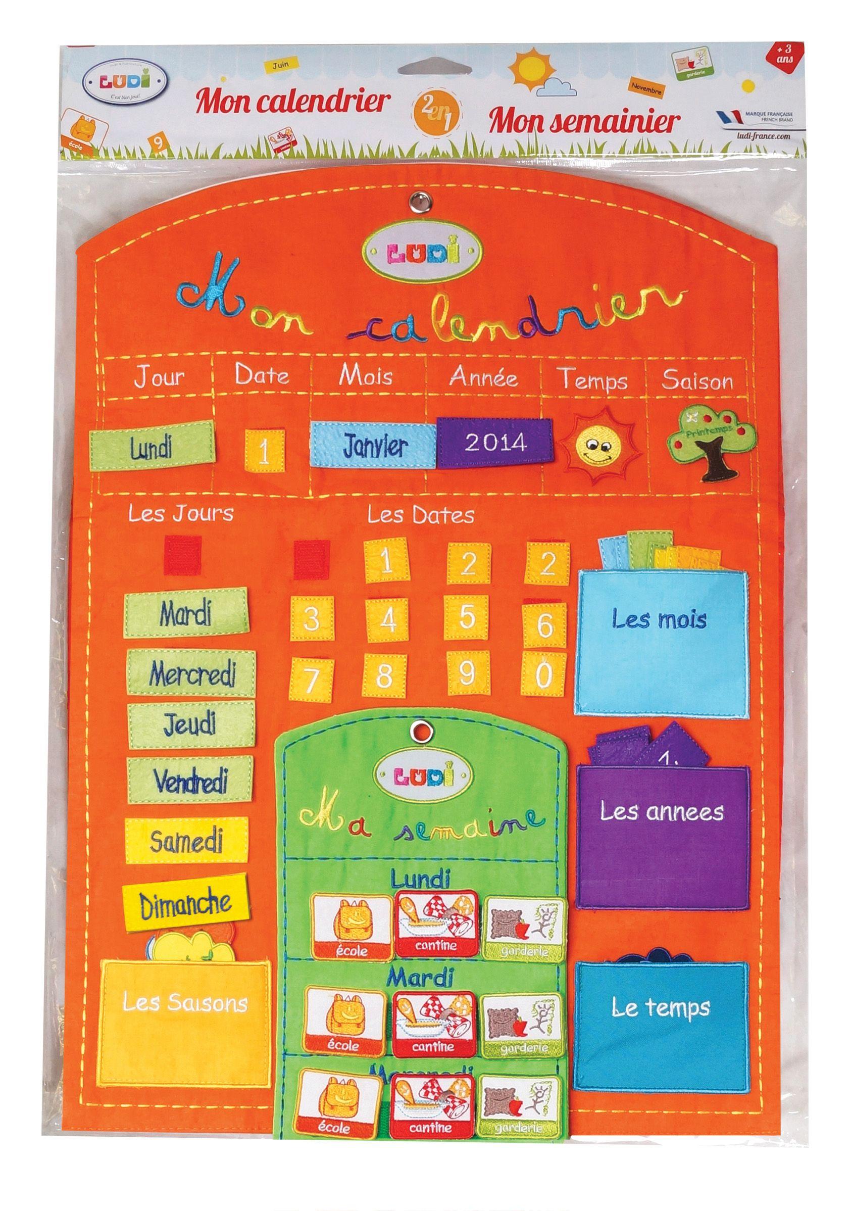 ce panneau calendrier en tissu brod de couleur orange permet l 39 enfant de se rep rer. Black Bedroom Furniture Sets. Home Design Ideas