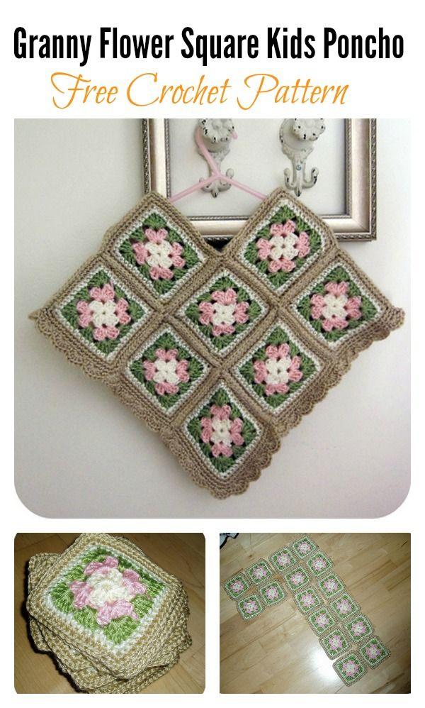 Free Flower Square Kids Poncho Crochet Patterns | Ponchos