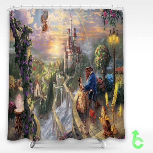 Love Disney Movies Beauty And The Beast Shower Curtain Showercurtain Decorative Bathroom Creative Homedecor Decor Present Giftidea