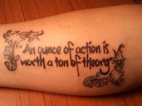 This is a quote from Emerson done by Brian Martinez at Vato Ink