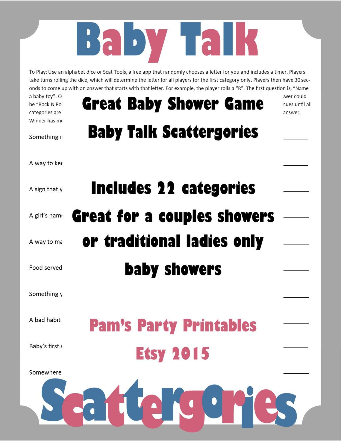 Baby Shower Scattergories Printable Game Family