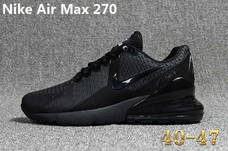 Spring Summer 2018 How To Buy Nike Air Max 270 KPU Latest Styles Running  Shoes Sneakers 2018 Triple Black a1d3ffb24