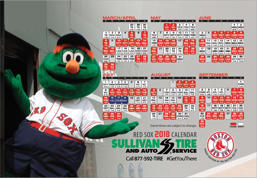 2018 Redsox Calendar Featuring Wally The Green Monster