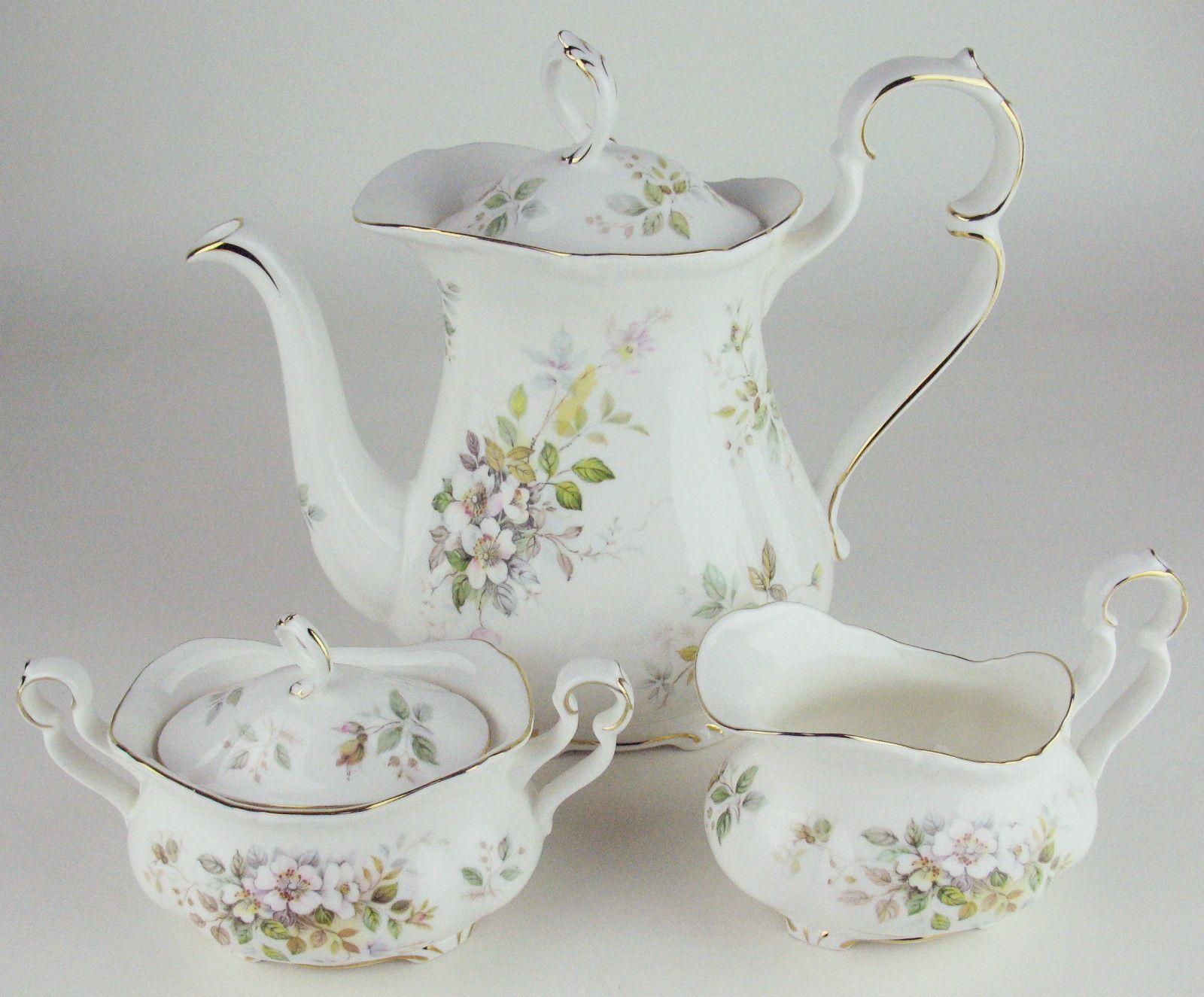 Coffee Pot w Creamer Covered Sugar Bowl Royal Albert