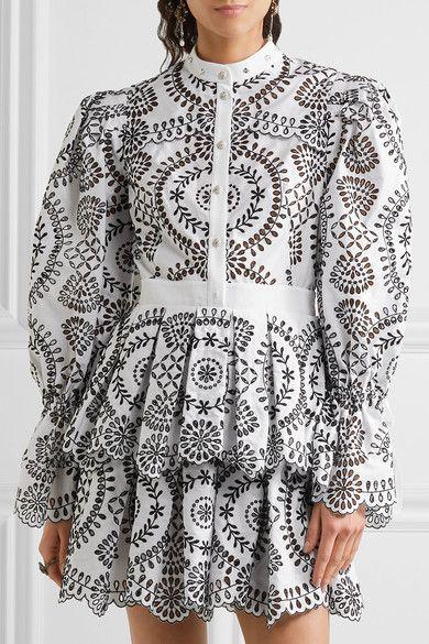 4fddc8dd08f Alexander McQueen - Tiered Broderie Anglaise Cotton Mini Dress - White -  IT40