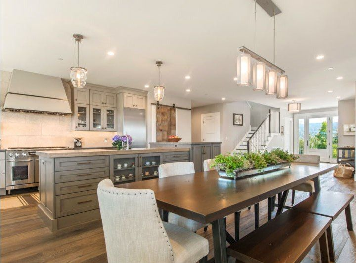 Designer Spotlight: LMK Interiors | Glass Pendants, Dining Area And Rustic  Modern Living Room