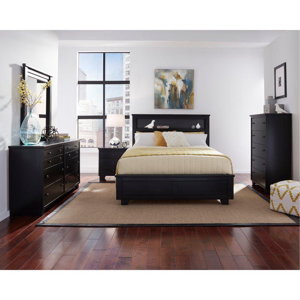 Contemporary Black 4 Piece Queen Bedroom Set Diego King