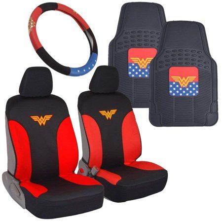 Wonder Woman Car Accessories Pack Seat Cover Rubber Floor