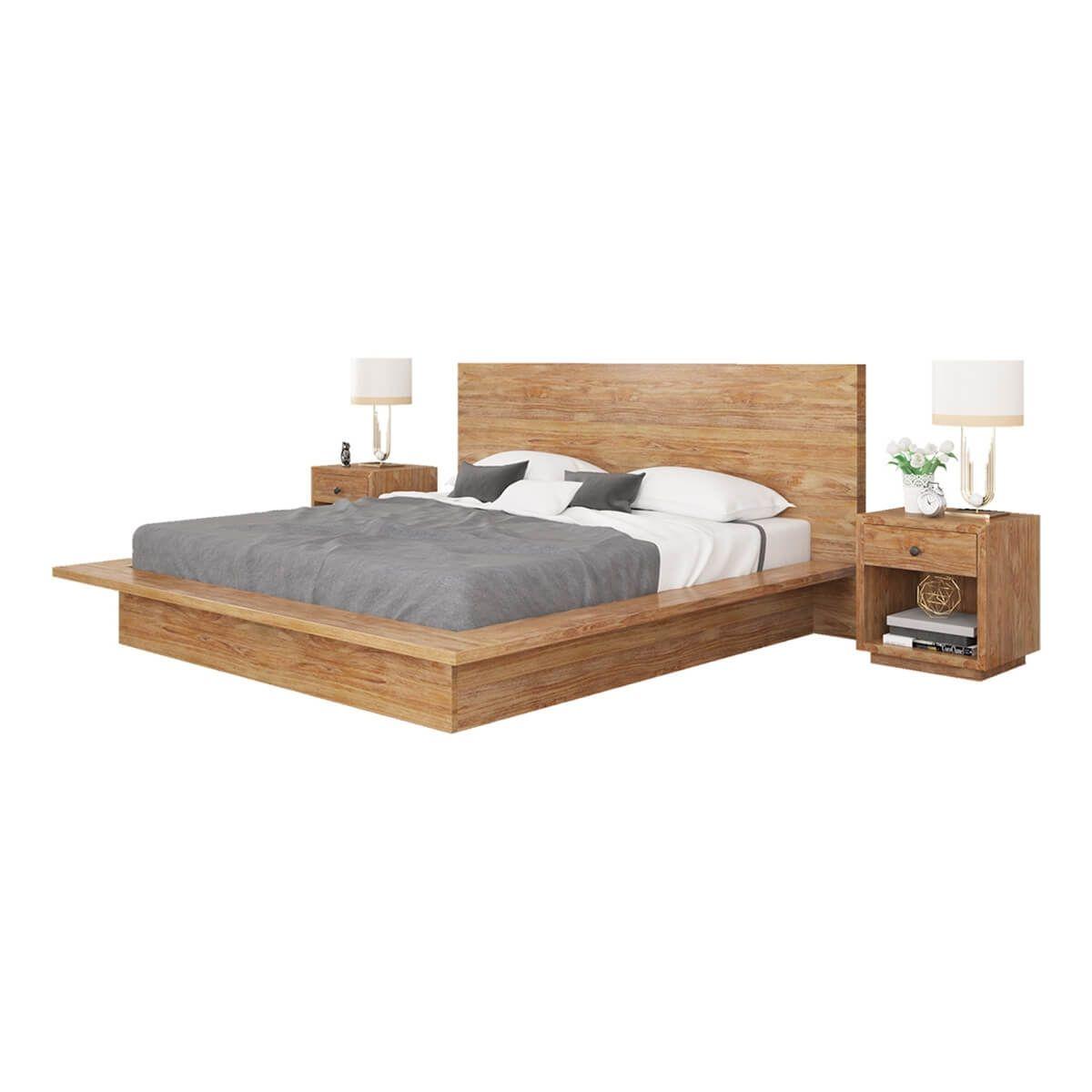 Britain Rustic Teak Wood Full Size Platform Bed Frame In 2020