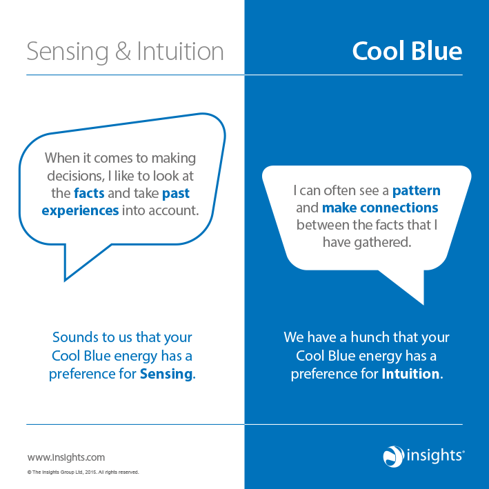 How sensing and intuition show up in Cool Blue Colour Energy