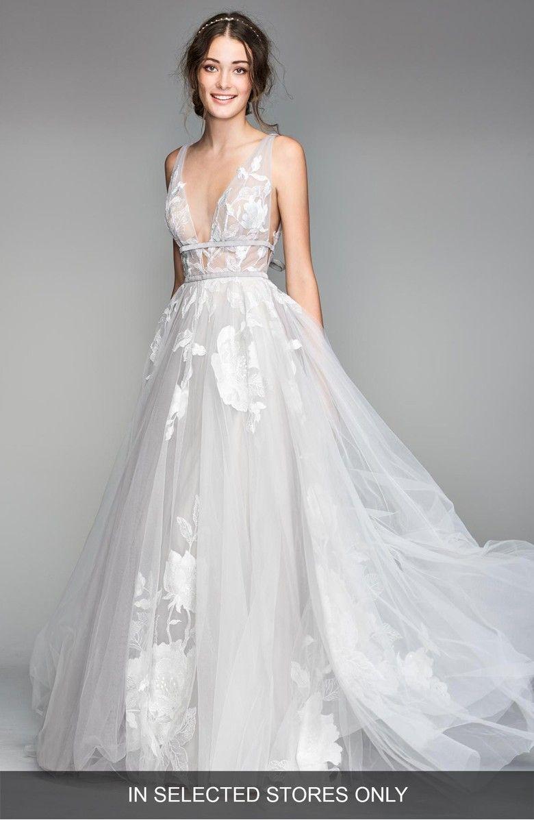 Galatea Embroidered Tulle Ballgown Main Wedding Dress Necklines Watters Wedding Dress Plunging Neckline Wedding Dress