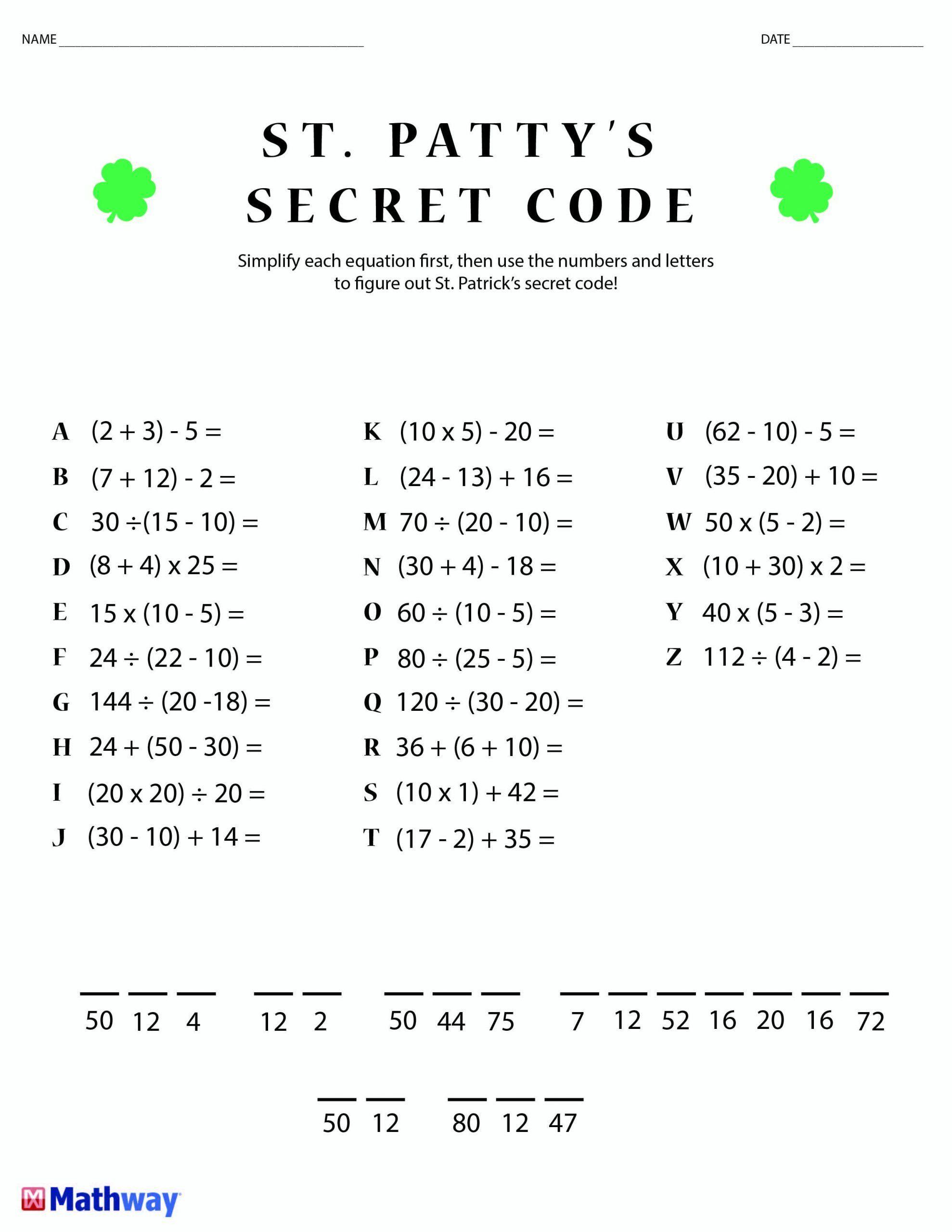 Cracking The Code Math Worksheets N O