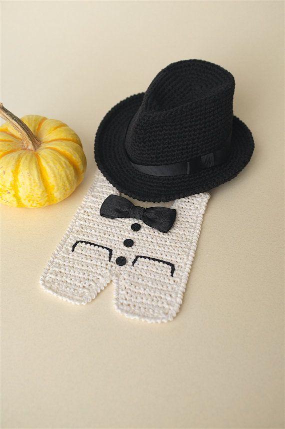b1e87144ec7 Newborn Fedora Hat and Tuxedo Bib Halloween Costume Baby Photo Props ...