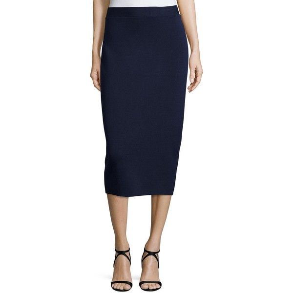 Eileen Fisher Silk Organic Cotton Interlock Pencil Skirt ($228) ❤ liked on Polyvore featuring skirts, bone, pull on skirts, knee length pencil skirt, blue skirt, below knee skirts and below the knee skirts