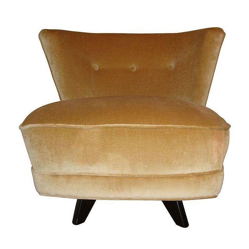 Vintage Dunbar Style Swivel Slipper Chair