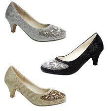 b469cd3b034 Girls Glitter Mesh Low Kitten Heel Diamante Kids Party Wedding Children  Shoes