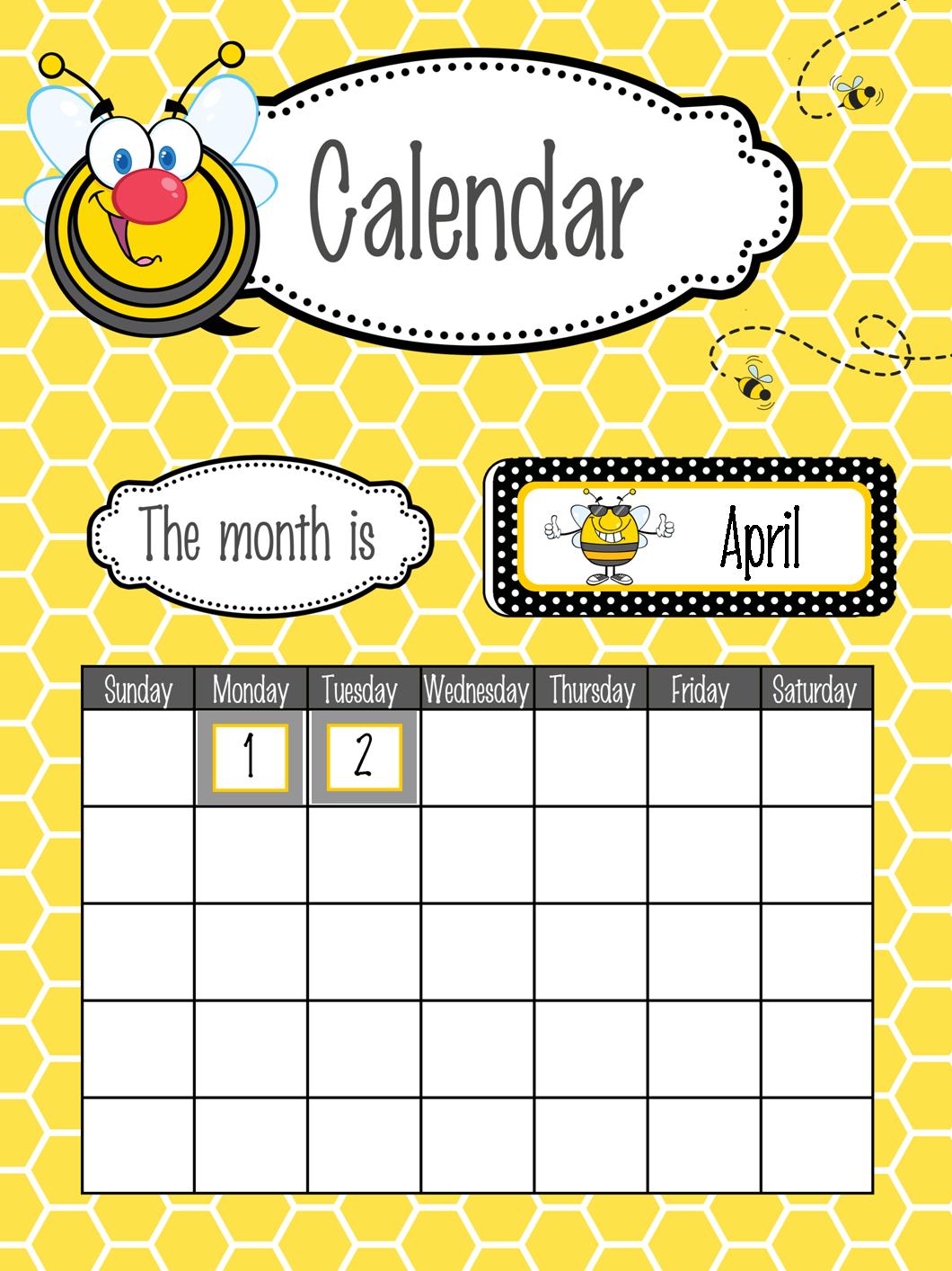 Typography Calendar Download : Bees classroom decor calendar set poster fonts bee