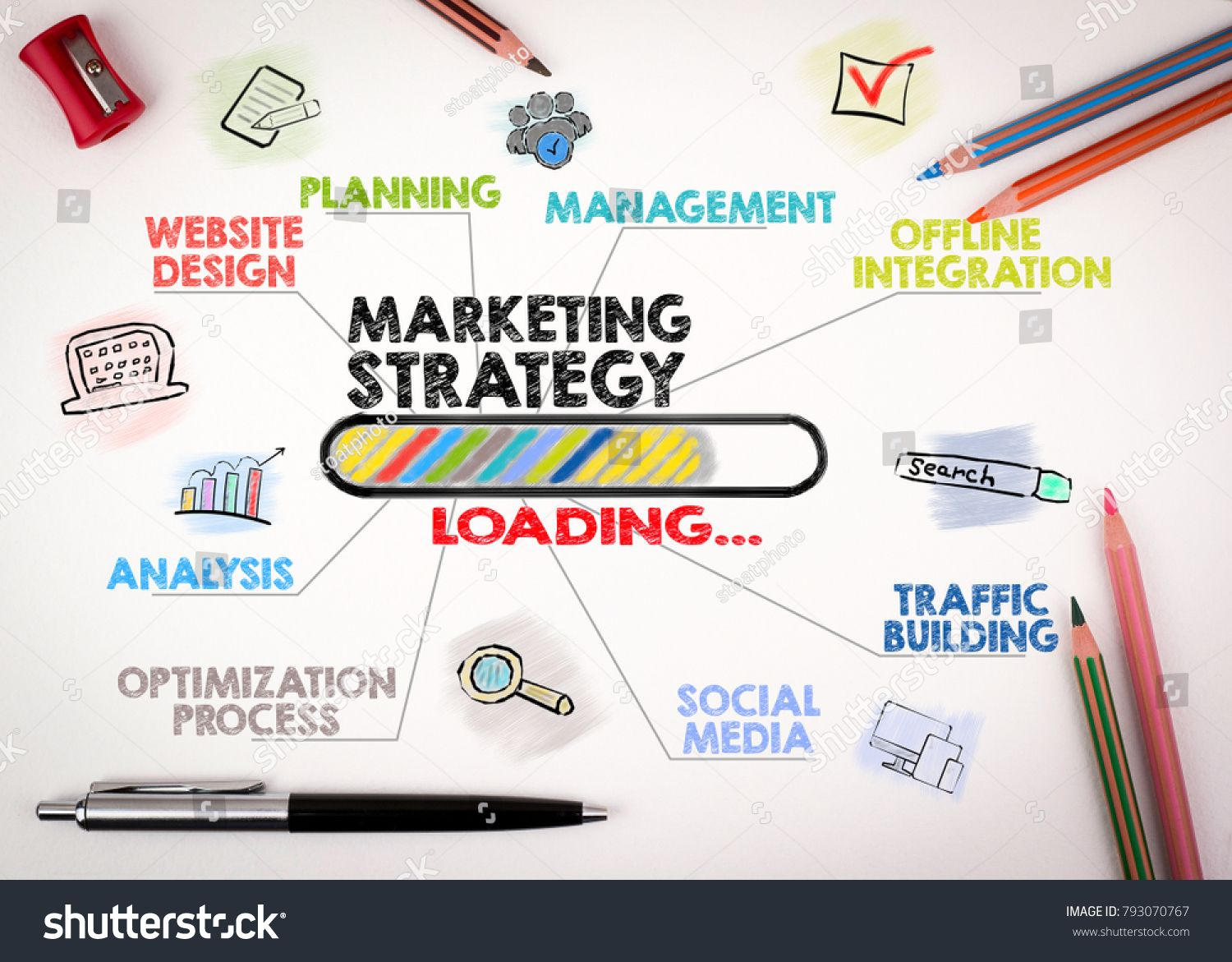 Marketing Strategy Concept Chart With Keywords And Icons On White Background Marketing Strategy Digital Marketing Digital Marketing Services
