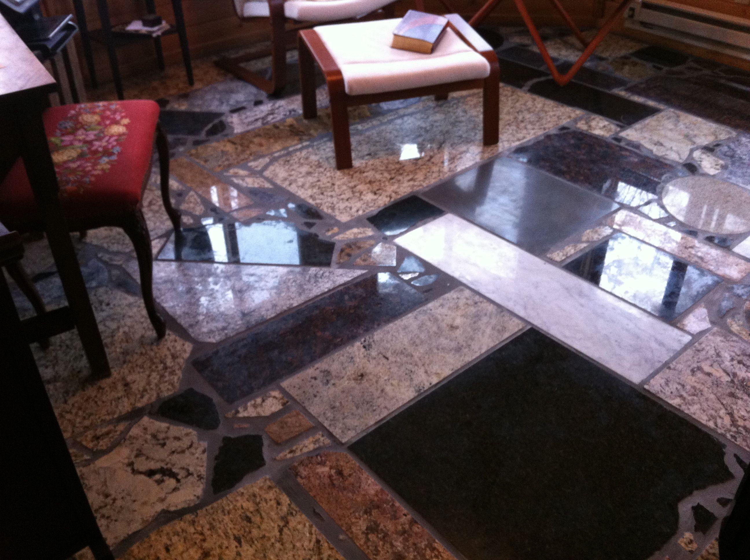 Perfect Granite Floors   Made From Granite Countertop Scrap! Total Cost ~$200