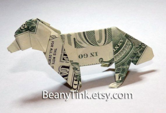 dollar origami retreiver dog by beanytink