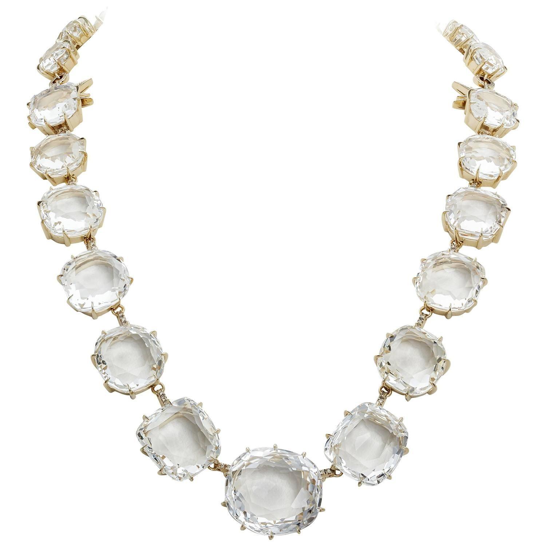 New H Stern Moonlight Quartz Diamond Gold Necklace