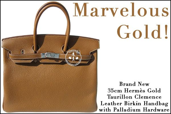 736484cc58 35cm Hermès Gold Taurillon Clemence Leather Birkin Handbag with Palladium  Hardware - Marvelous Gold!
