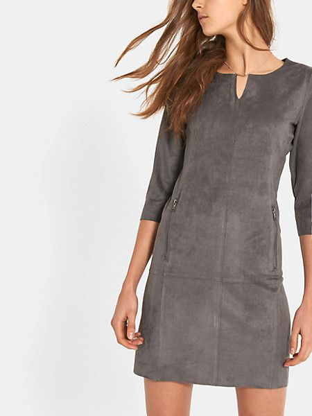 suede jurk donkergrijs - costes fashion | dress&shirtdress ..and