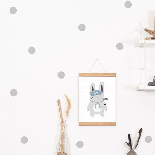 Graue Wände Graue Wände: Wandtattoo / Wandsticker 72 Punkte Dots Grau