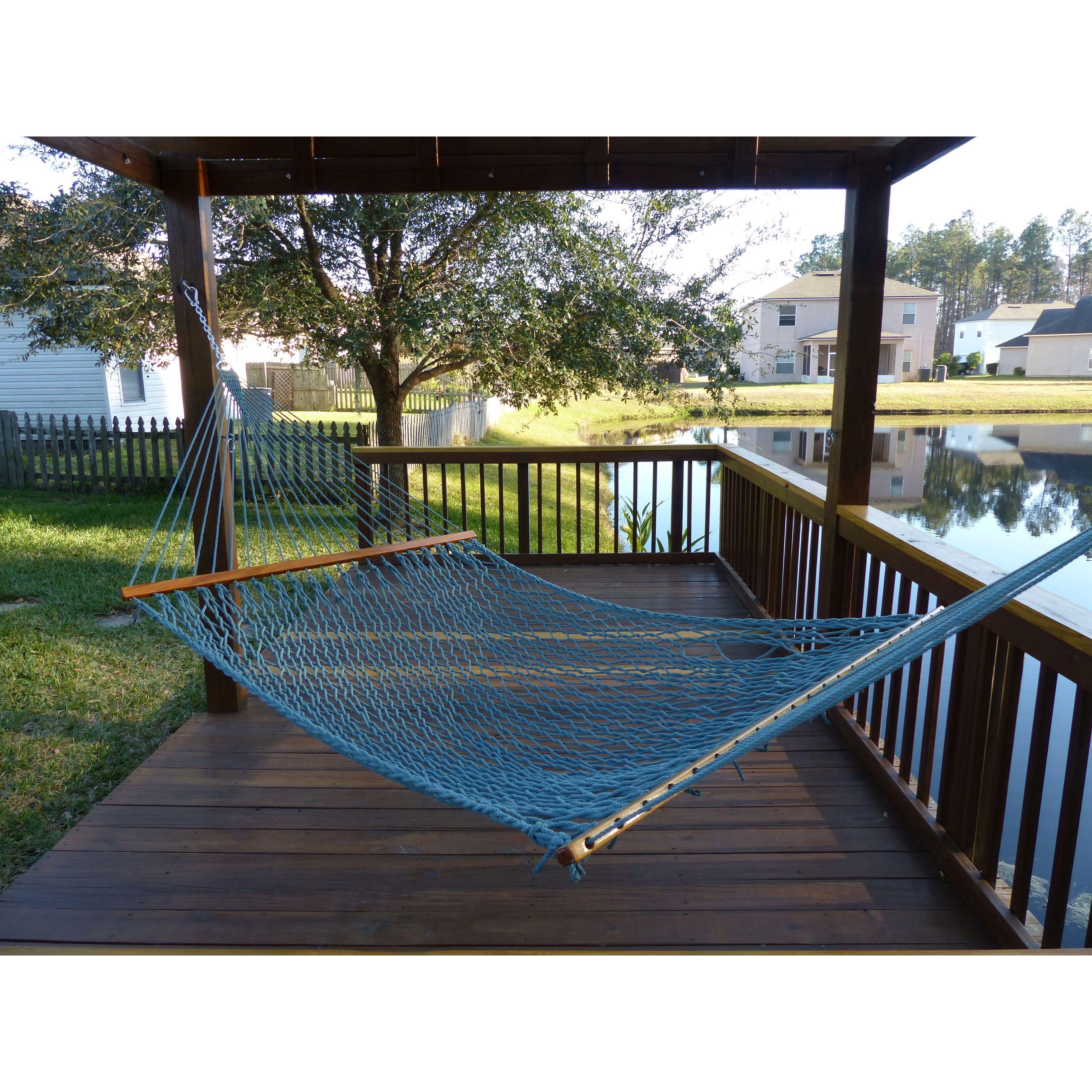 Castaway spruce polyester rope hammock blue acrylic wssp