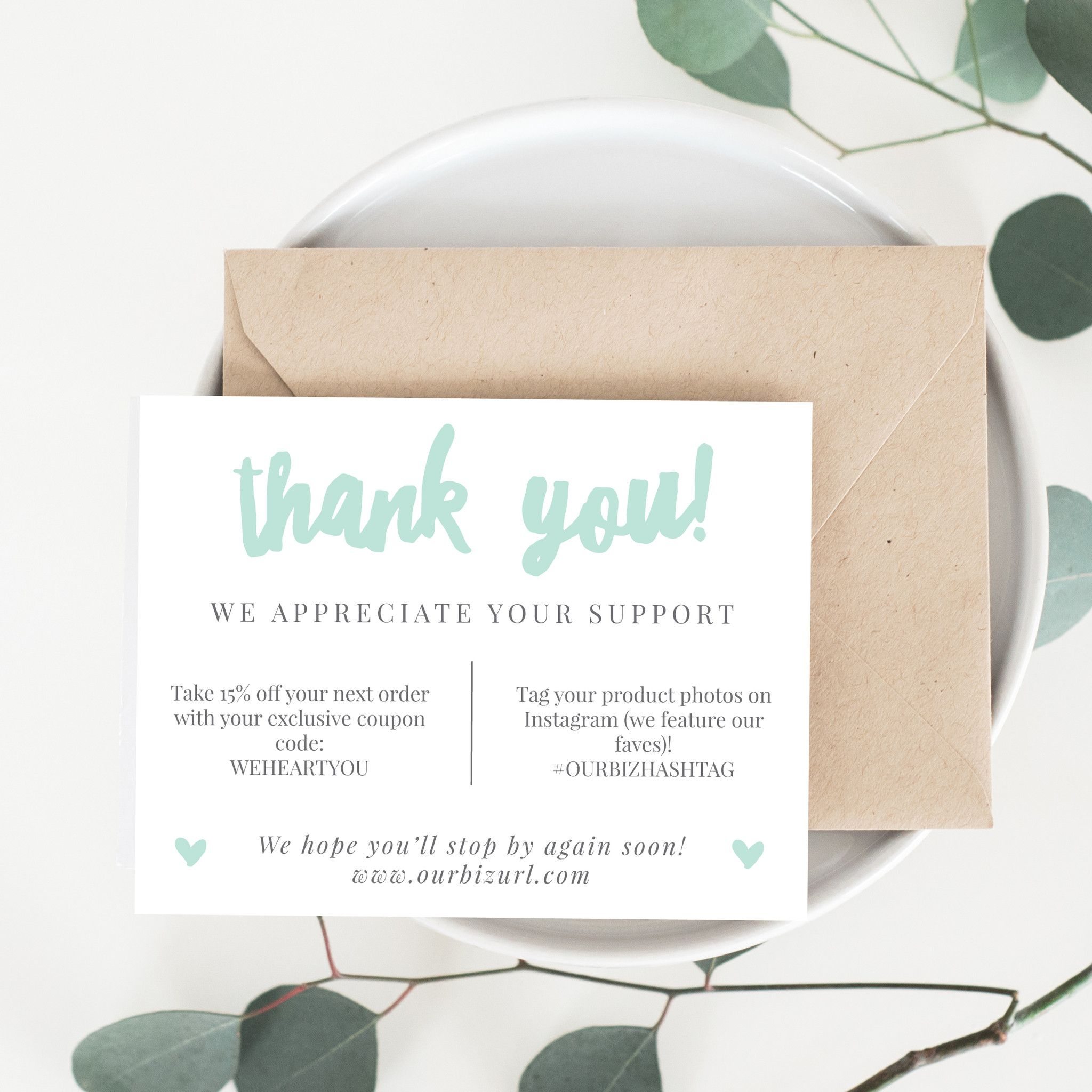 Printable Business Thank You Cards Template | Adelie | Gift tags ...