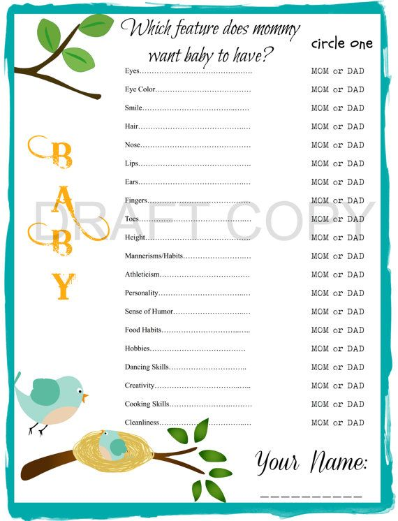 Baby Shower Game! Instant Download. Which feature does Mommy want ...