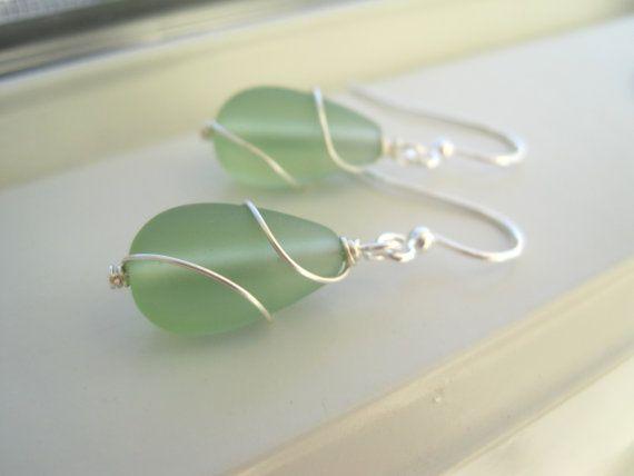 Green Sea Glass Earrings  Sea Glass Jewelry  by Sparkleandswirl