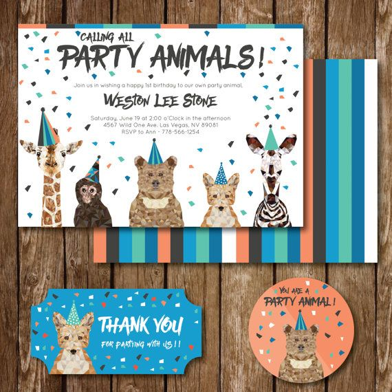 Calling all Party Animals or Lets Get Wild themed birthday invitation, cupcake topper (4 colors and designs included) and party favor tags (4 colors and designs included). This invite is perfect for the next birthday party you throw. Once purchased, we will customize the information, and size for you and then email you the customized digital files.  *Full Package includes: Double sided invite, gift tags, cupcake toppers, and banner…