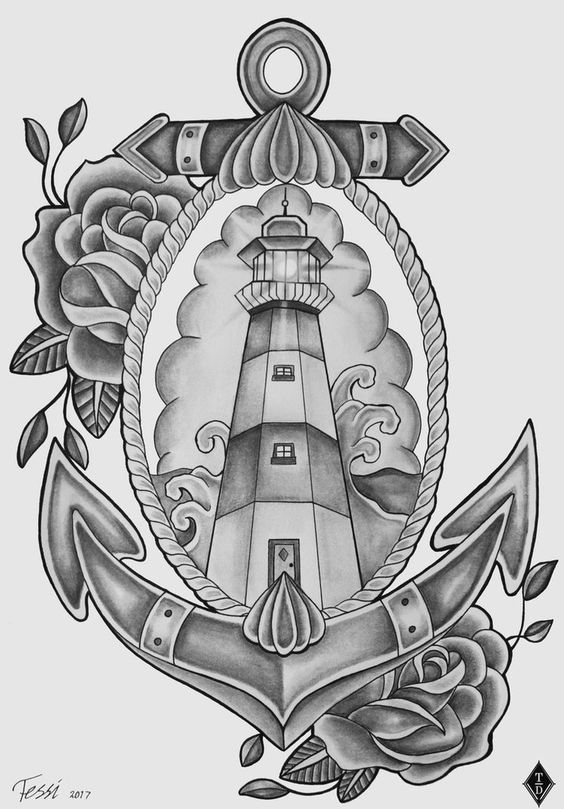 Lighthouse American Traditional Tattoo: Lighthouse Tattoo Design By ThereseDrawings