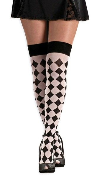 f76c3b29f Private Island Party - Harlequin White and Black Thigh Highs