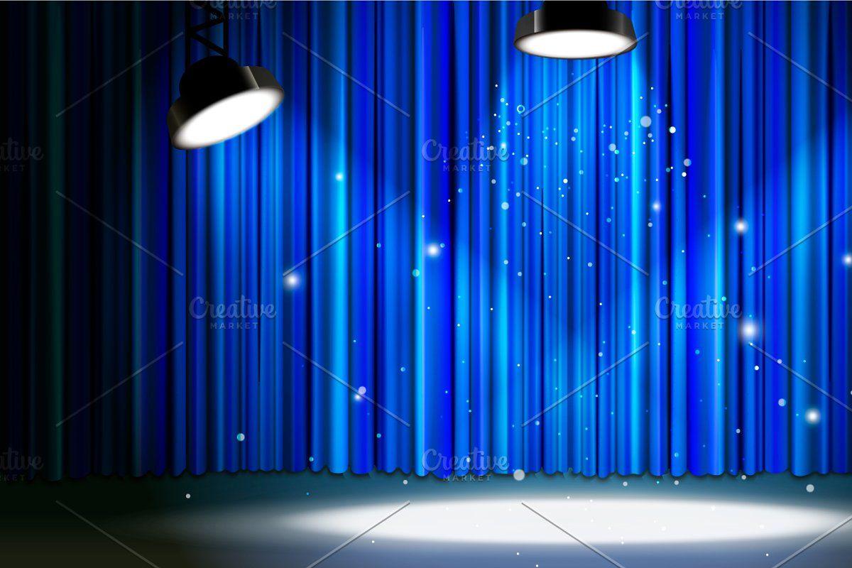 Blue Curtain With Bright Spotlight Blue Curtains Curtains