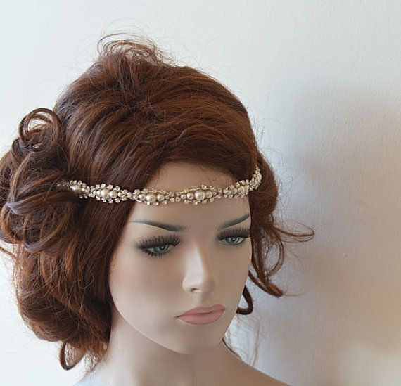 Kerala Bride Simple Hairstyle For Long Forehead: Wedding Hair Accessories, Rhinestone And Pearl Headband