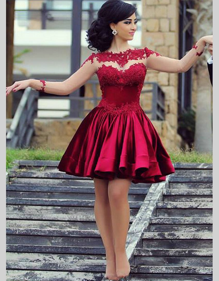 Dark Red Homecoming Dresses 2015