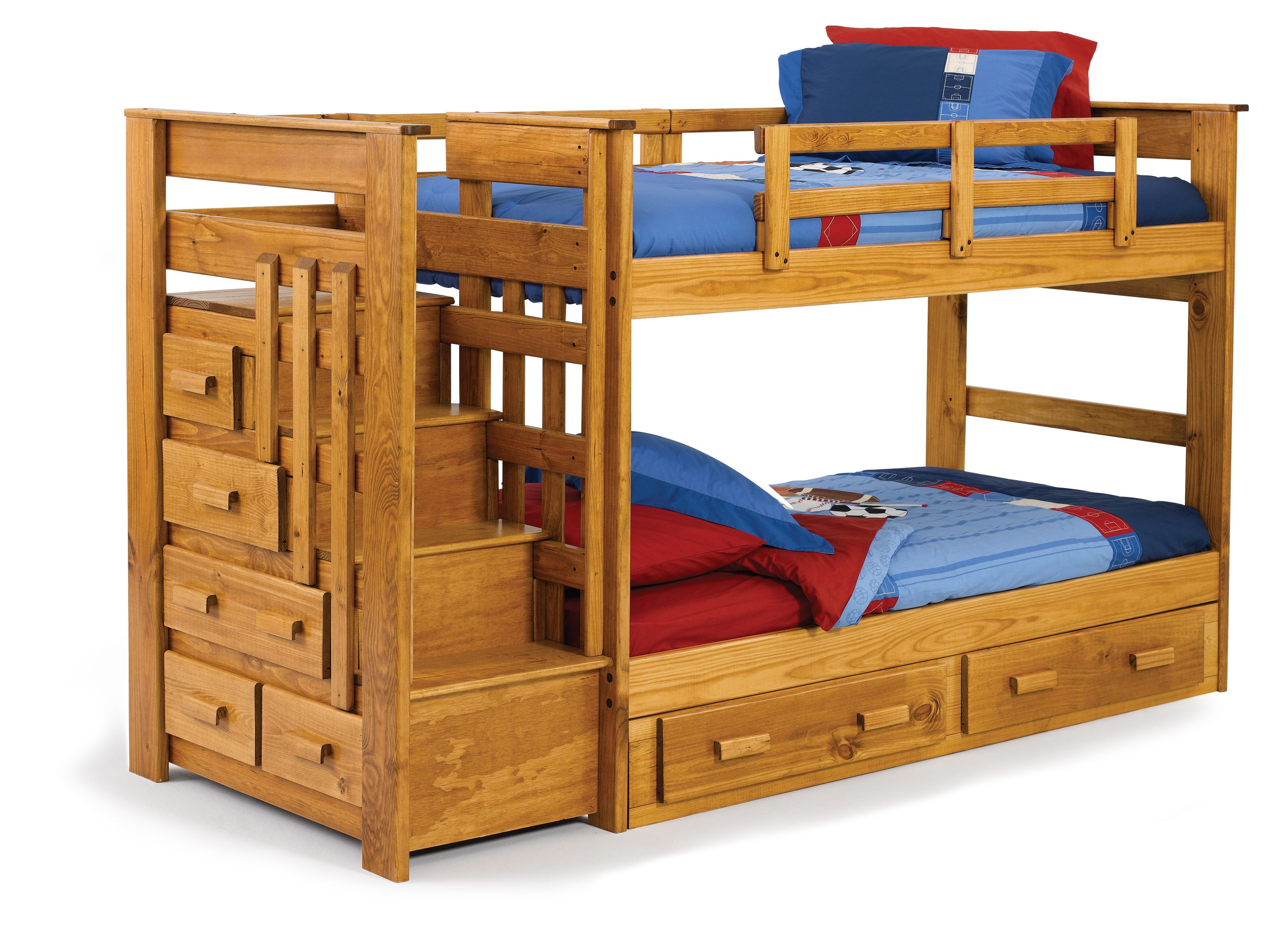 Lovable kids children furnitures set with natural wooden for Kids twin bed with drawers
