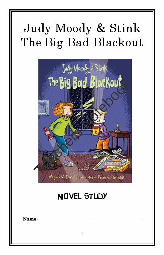 Judy Moody and Stink The Big Bad Blackout Novel Study ...